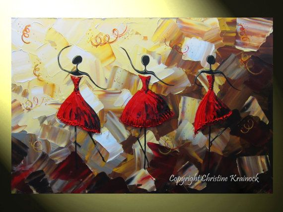 ORIGINAL Art Abstract Dancers Painting Red Dress Textured ...