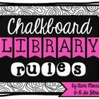 This pack includes 9 classroom library rules on a b&w chalkboard graphic {with a touch of pink!} Also included is an example of how the rules w...