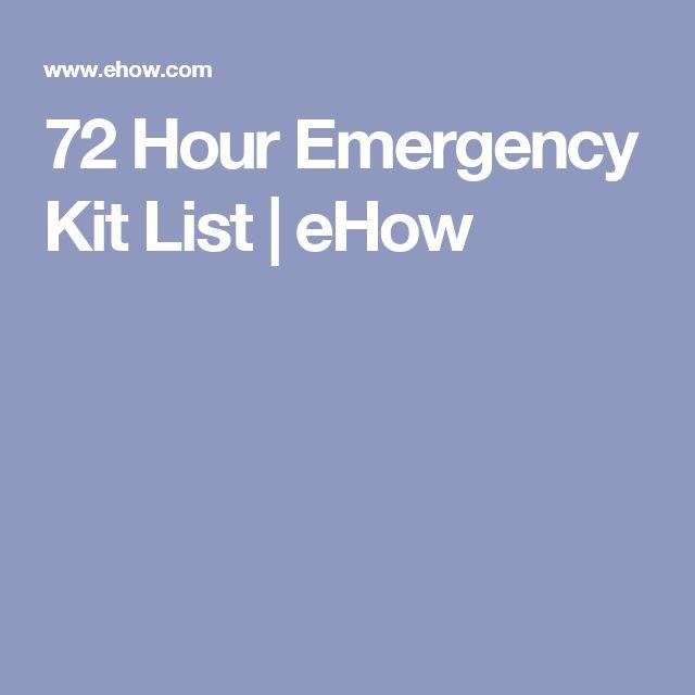 72 Hour Emergency Kit List   eHow