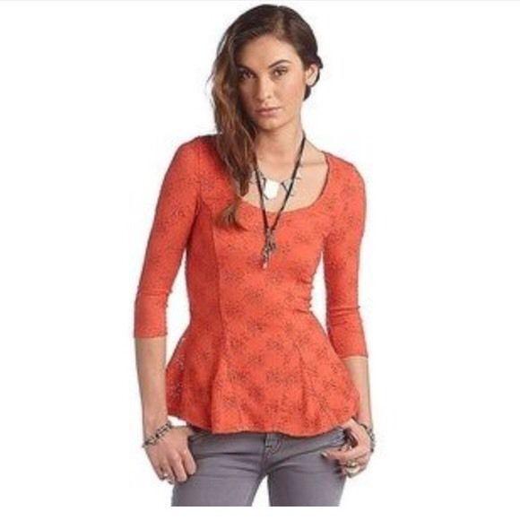 Free People Coral Floral Crochet  Peplum Top Sz S #FreePeople #Peplum #Casual