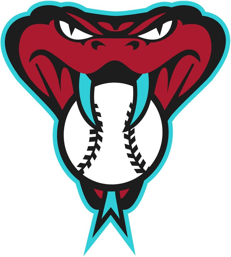 Arizona Diamondbacks Alternate Logo (2016) - Snake head logo biting on a baseball trimmed in teal