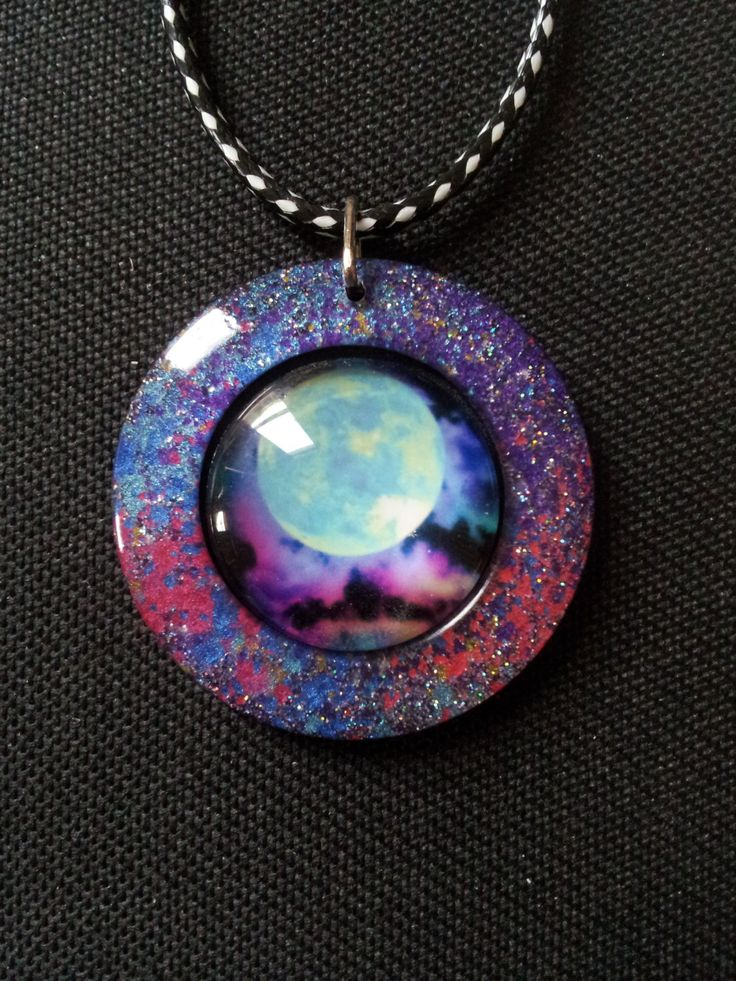 Celestial Galaxy Necklace in Multicoloured Pearl Resin + Free Shipping Worldwide, celestial galaxy, galaxy, galaxy jewelry, galaxy pendant by OurArtyCreations on Etsy