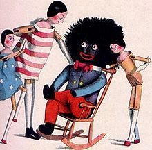 "In 1895, the Golliwogg surfaced in Great Britain, the product of American-born children's book illustrator Florence Kate Upton, who modeled her rag doll character Golliwogg after a minstrel doll she had in the U.S. as a child. ""Golly"", as he later affectionately came to be called, had a jet-black face; wild, woolly hair; bright, red lips; and sported formal minstrel attire. The generic British golliwog later made its way back across the Atlantic as dolls, toy tea sets, ladies' perfume, and…"