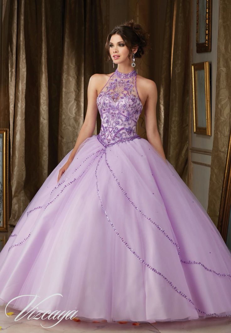 Morilee Vizcaya Quinceanera Dress 89114 JEWELED BEADING ON PRINCESS TULLE BALL GOWN  Matching Bolero Jacket. Available in Light Purple, Blush, Bahama Blue, White (Color of this dress): Light Purple