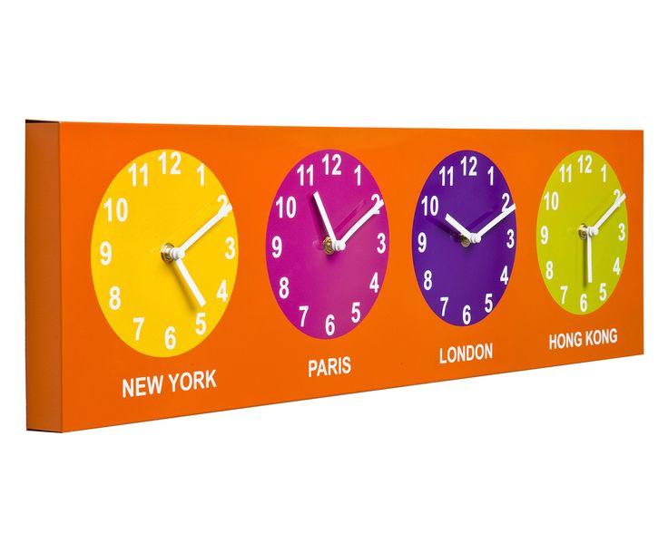 Orologio da parete in polistirene con 4 quadranti pop - 70x20 cm | Dalani Home & Living