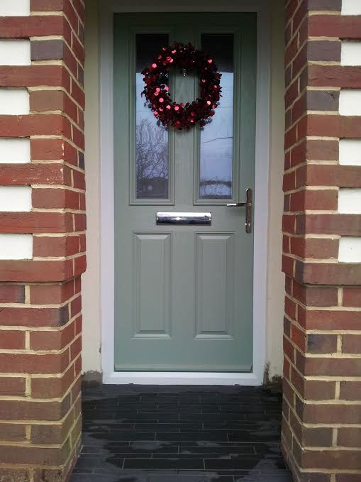2 Panel 2 Square Glazed Composite Front Door in Chartwell Green