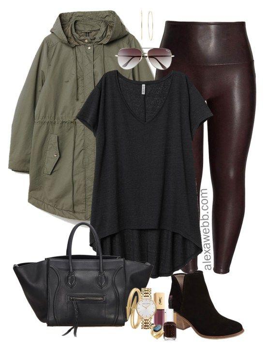 ca8a163518323 Plus Size Faux Leather Leggings Outfit - Plus Size Wine Oxblood Leather  Leggings - Plus Size Fashion for Women - alexawebb.com #plussize #alexawebb