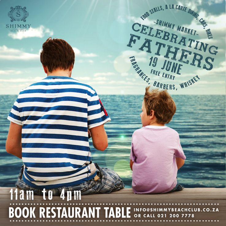 Spoil dad this #FathersDay - Shimmy Beach Club will be hosting a market day for men, in Cape Town's Waterfront! Book a restaurant table: 021 200 7778.