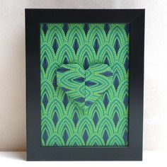 """Nouvelle collection ! affichette décorative en origami – cœur ton sur ton bleu et vert - collection """"caméléon"""""""