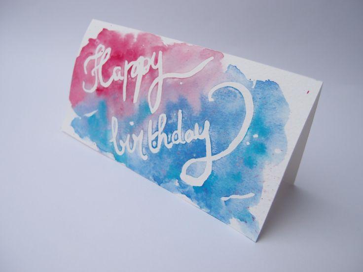 Carte d'anniversaire Happy Birthday - Aquarelle bleue et rouge - carte double : Peintures par amelie-t