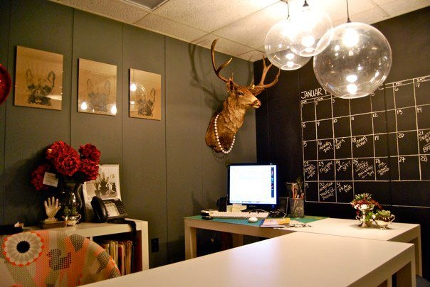 My office. We also decorate offices:)  Made: Light installation from XL acrylic balls  Made: Chalkboard wall calendar  Made: Bird dog screen prints