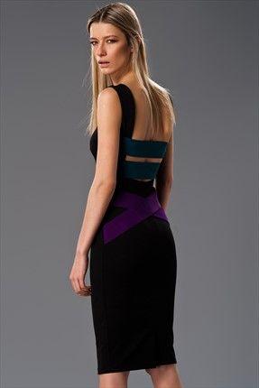 Milla by trendyol X Çağla Şıkel - Yeni Sezon - Siyah Elbise MLWSS156684 sadece 89,99TL ile Trendyol da