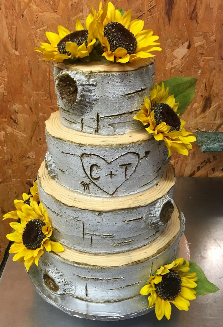 Birch Tree cake (buttercream) decorated with Sunflowers.