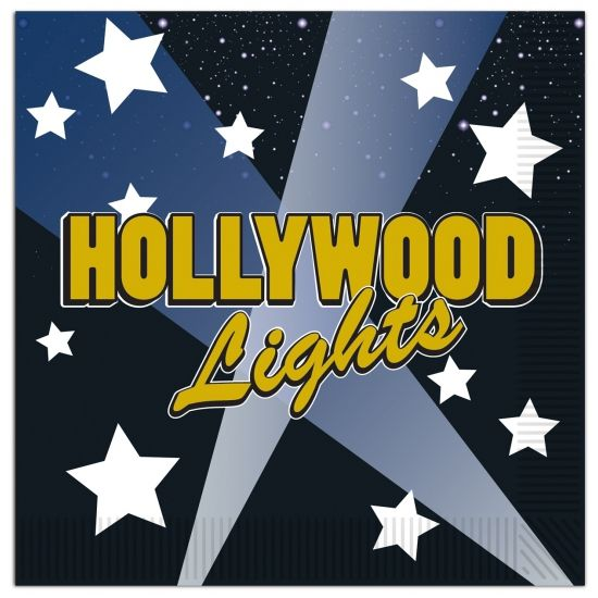 Hollywood thema servetten. 16 stuks servetten in Hollywood thema. 2-laags. Formaat: 33 x 33 cm.