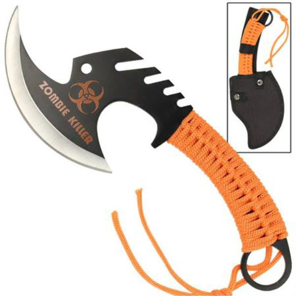 Orange Black ZOMBIE Killer Skullsplitter Axe Tomahawk Stainless Steel Blade