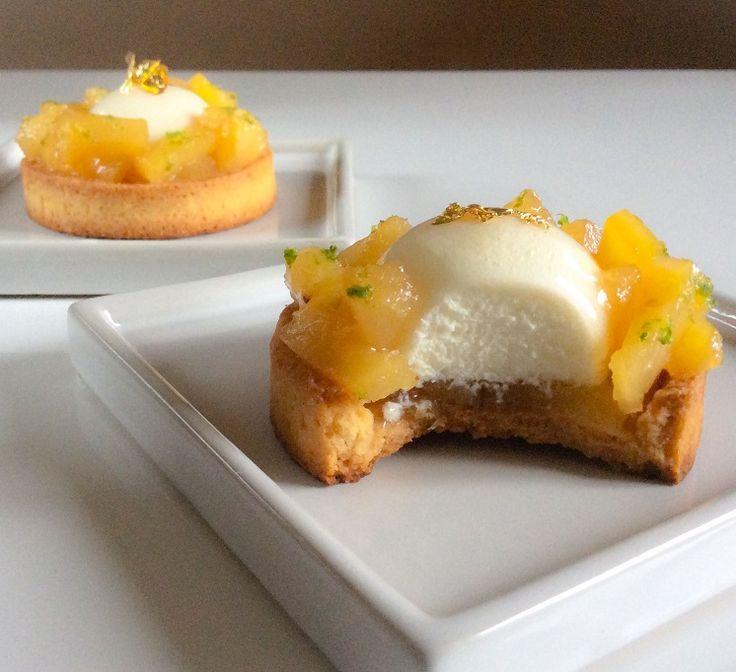 tartelettes ananas rôti mousse au citron vert dessert pâtisserie