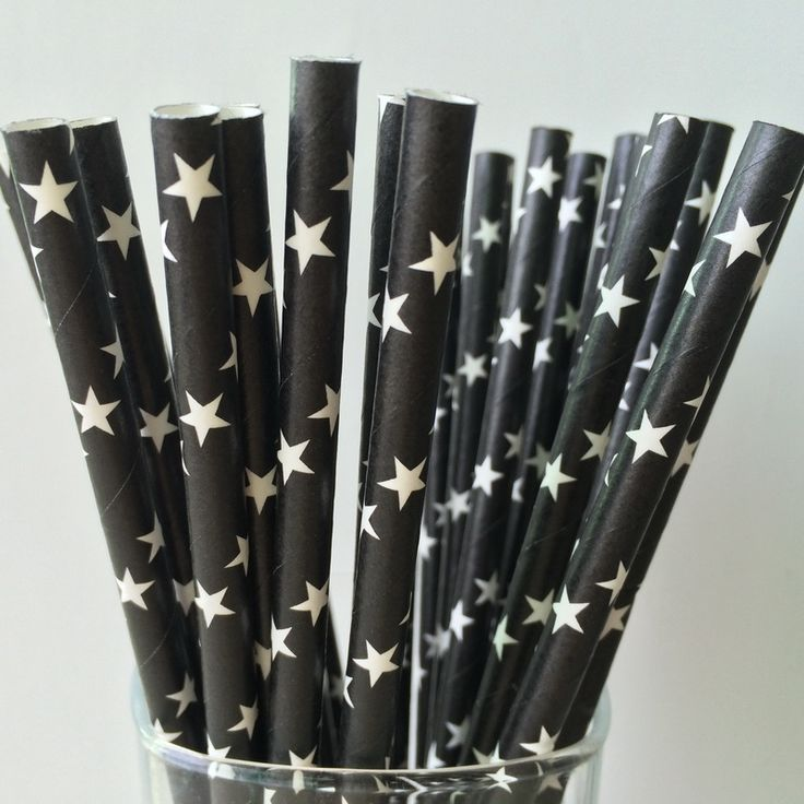 Free Shipping 25pcs Black Drinking Straws,White Stars Pattern Paper Straws Wedding Party Birthday Decoration -in Event & Party Supplies from…