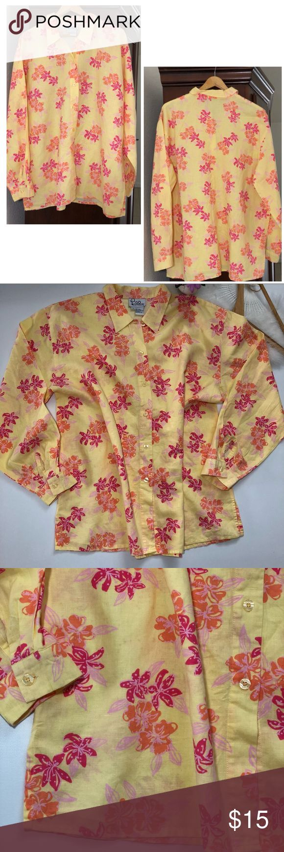 """Lilly Pulitzer linen long sleeves yellow blouse L Lilly Pulitzer. Size L. Yellow button down blouse / tunic Pink floral print. In pre loved conditions. Please see pictures for fabric information. ALL MEASUREMENTS ARE APPROXIMATE AND LAYING FLAT: 🔸LENGTH: 28.5"""" 🔸PIT TO PIT: 25"""" 🔸WAIST: 25.5"""" 🔸 SLEEVES: 23"""" FEEL FREE TO ASK QUESTIONS  I DO NOT TRADE Lilly Pulitzer Tops Button Down Shirts"""