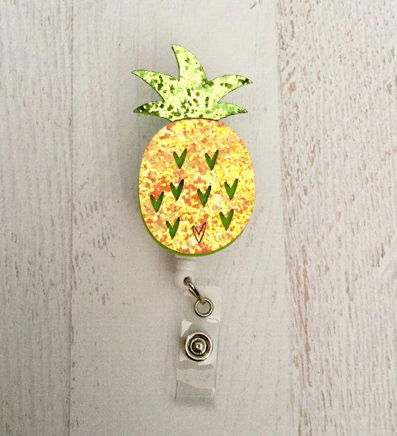 Pineapple Badge Reel Felt ID Holder Retractable Name Badge Reel Embellished Badge Reel Name Tag Holder Badge Reel