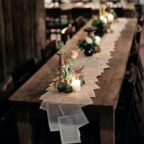 How pretty is this storybook tablescape? Love the idea of using pages from old books as a table runner. Sign and date the pages, and encourage your guests to take a page or two as favors to save money and cut down on paper waste! #reducewaste #storybook #vintage #ecofriendly #weddingtable #tablescape #wedding #love #tablerunner #papergoods #sustainableweddingplanner #sustainability #weddingfavors #environmentallyfriendly #gogreen #minimal #wood #candles #farmtable #events #eventplanner…
