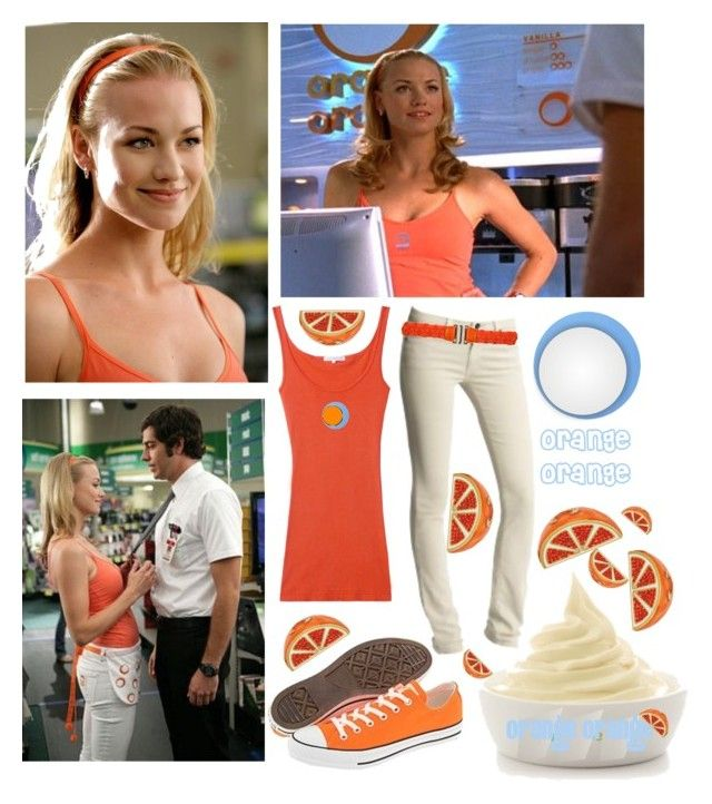 """Agent Sarah Walker-Orange Orange"" by old-soul-92 ❤ liked on Polyvore featuring Disney, James Perse, AG Adriano Goldschmied, Converse, Juicy Couture, WallPops, Betty Jackson, walker, chuck and bartowski"