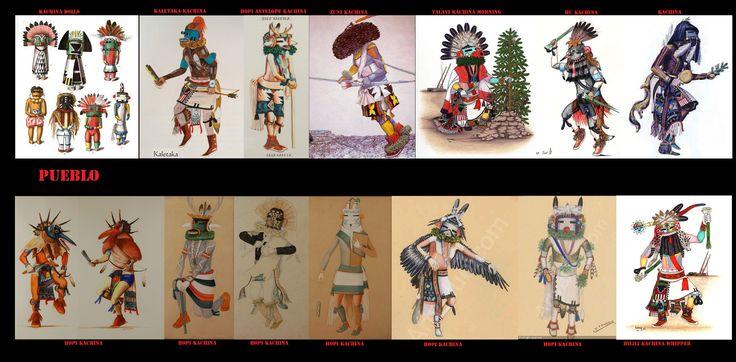 Durante alcune cerimonie, in particolare tra gli Hopi e Zuni, i danzatori si travestono da Kachina. Quando un uomo indossa il costume di un particolare Kachina crede di perdere la propria identità personale e di ricevere quella dello spirito che rappresenta. Anche se i danzatori sono sempre di sesso maschile, oltre ai Kachina maschili esistono anche Kachina femminili.