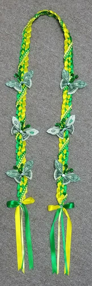 New Hawaiian Graduation Ribbon Lei  Green &  Yellow with Money Butterflies