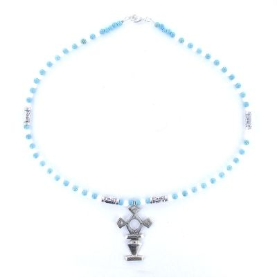 Collier croix du Sud en argent, turquoise et agate.