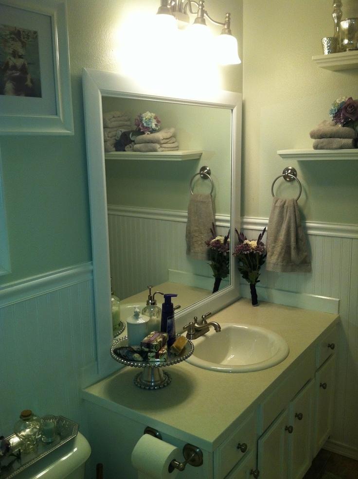 Framing A Builder Grade Bathroom Mirror I Did This Pinterest