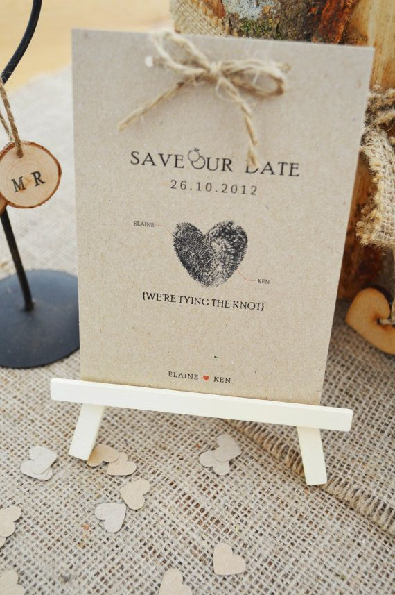 10 Rustic Kraft 'Save the Date' Cards....cute finger print heart idea for invites?