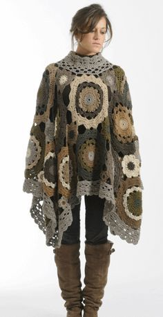 Poncho rosetas grannys circulares - Patrones Crochet