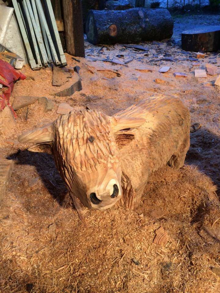 Highland Cow Chainsaw Carving Wood Carving Chainsaw