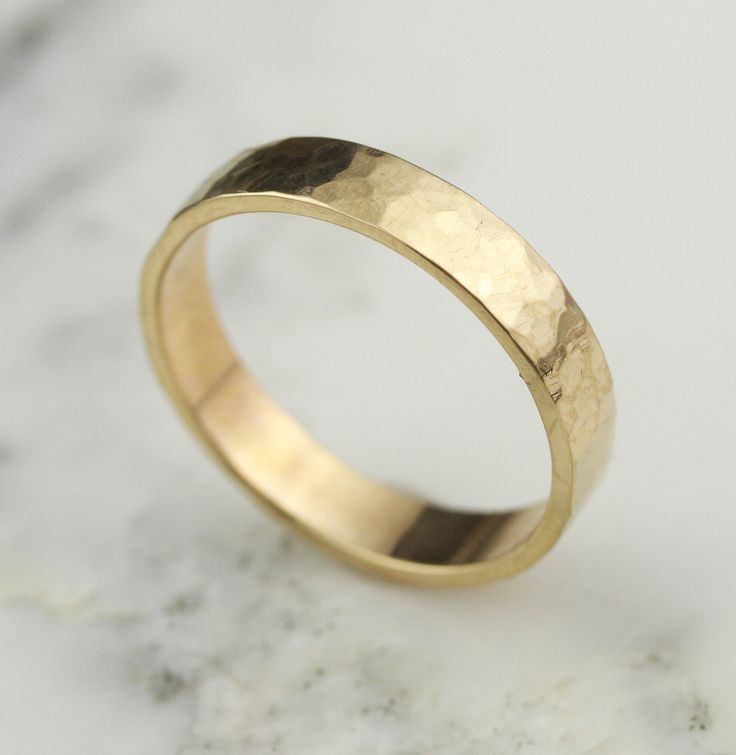 Handmade Mens Hammered 5mm 14k Yellow Gold Wedding Band - mens gold jewelry on sale, mens white gold jewelry, mens stainless steel jewelry