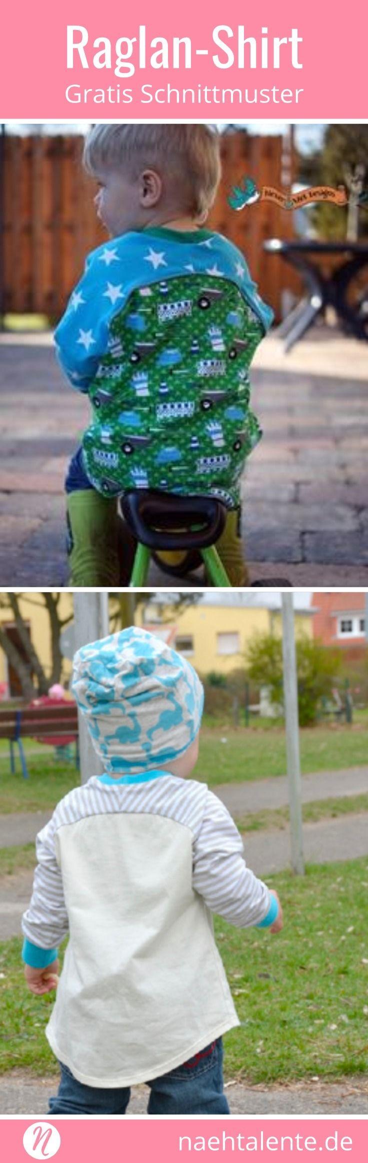 Freebook Raglan-Shirt für Kinder in Gr. 86 - 98. Hübsches Schnittmuster für Color-Blocking-Effekte. Geniale Nähanleitung, auch für Anfänger geeignet. #nähen #freebook #schnittmuster #gratis #nähenmachtglücklich #freesewingpattern #handmade #diy