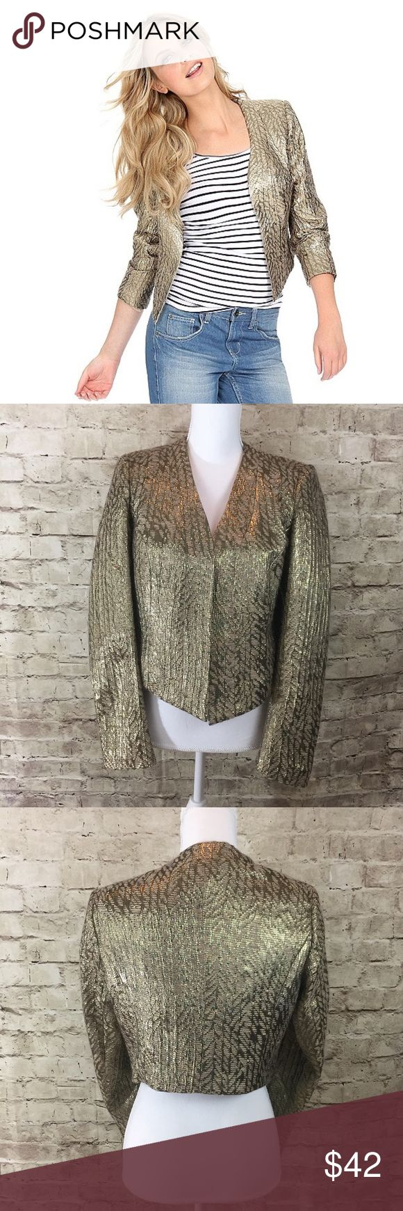 |French Connection| Metallic Cropped Jacket Gold metallic cropped jacket with asymmetrical front • in excellent preowned condition no flaws noted• fully lined French Connection Jackets & Coats Blazers