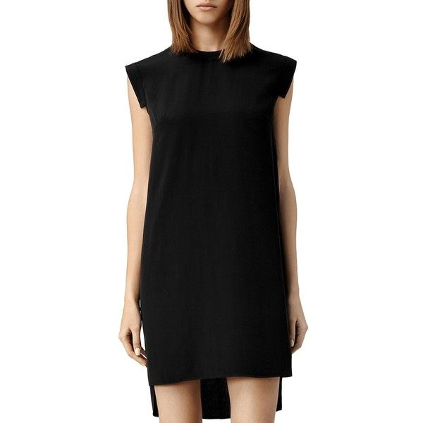Allsaints Tonya Lew High/Low Dress (225 CHF) ❤ liked on Polyvore featuring dresses, black, low dress, allsaints dress, silk dress and allsaints