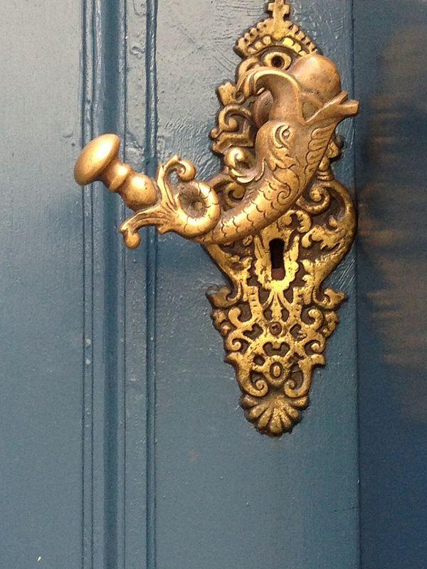 Door Knob On A Little Side Street In Bergen, Norway