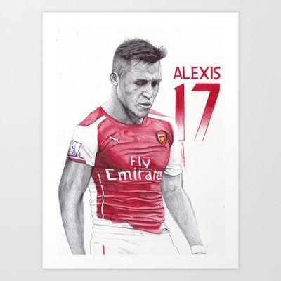 "Alexis Sanchez  ART PRINT/ MINI (8"" X 10"")  DeMoose_Art (demoose21) ALEXIS SANCHEZ Pen Drawing by DeMoose_Art $20.00"