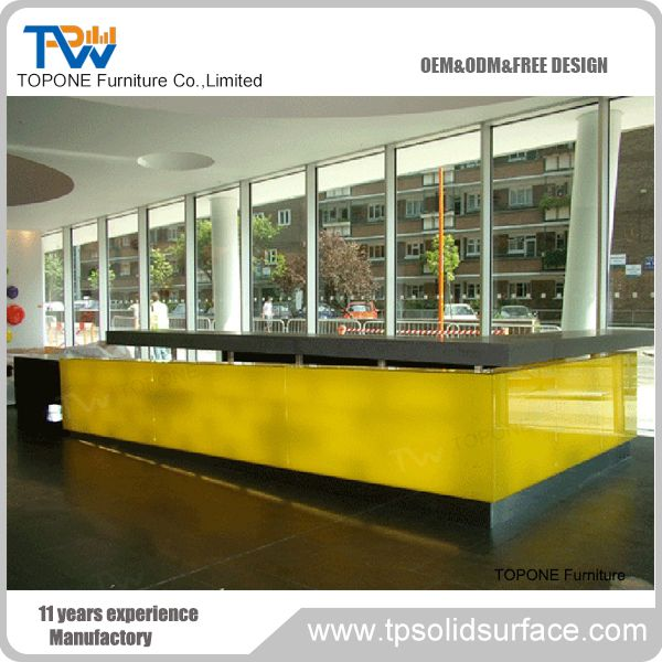 l shape shopping mall service counter table reception desk yellow office worktop marble furniture corian g36 corian