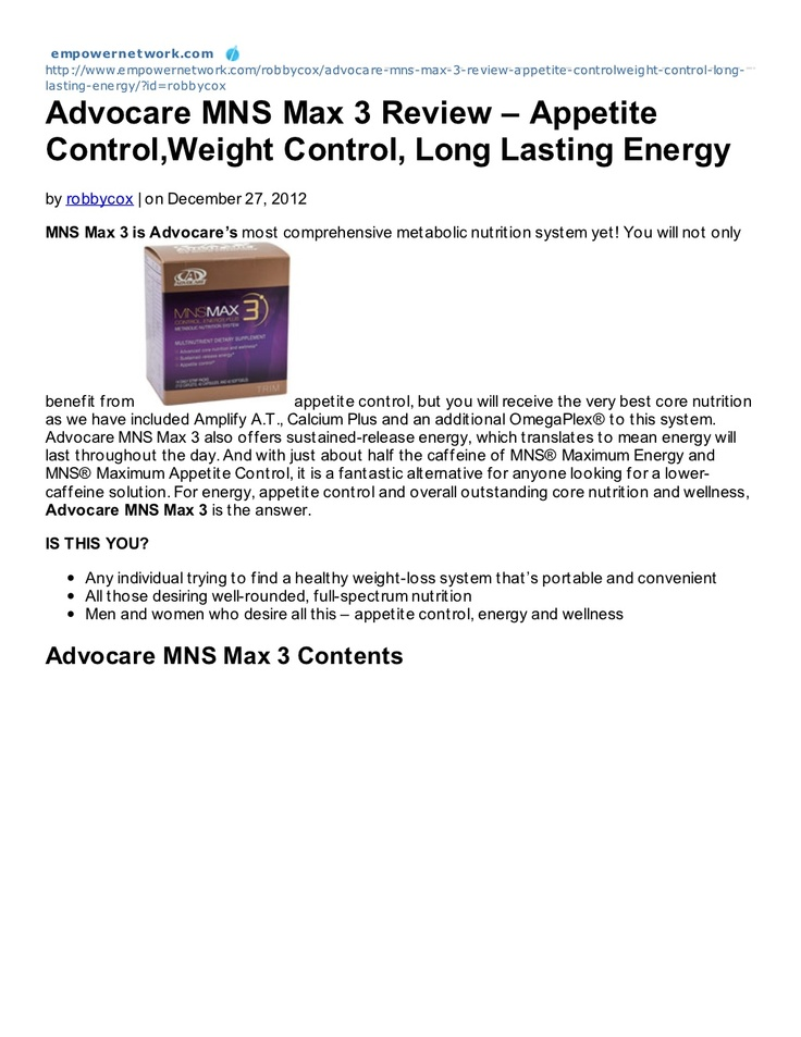 advocare-mns-max-3-review by Robby Cox via Slideshare