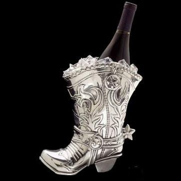 Arthur Court Cowboy Boot Wine Bottle Holder for the cowboy in us all.
