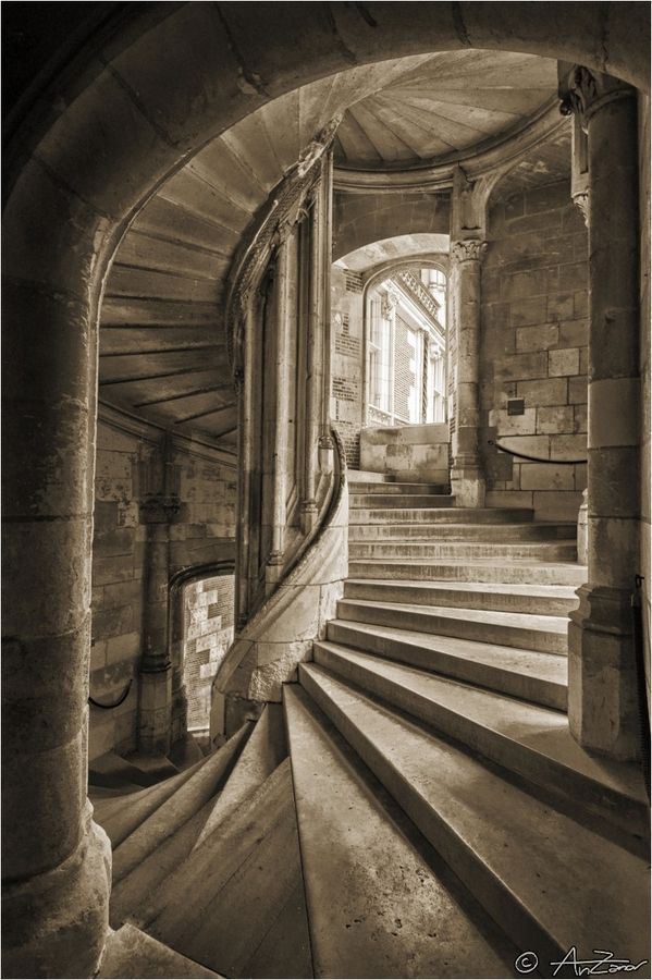 Winding stairs, blois castle in France