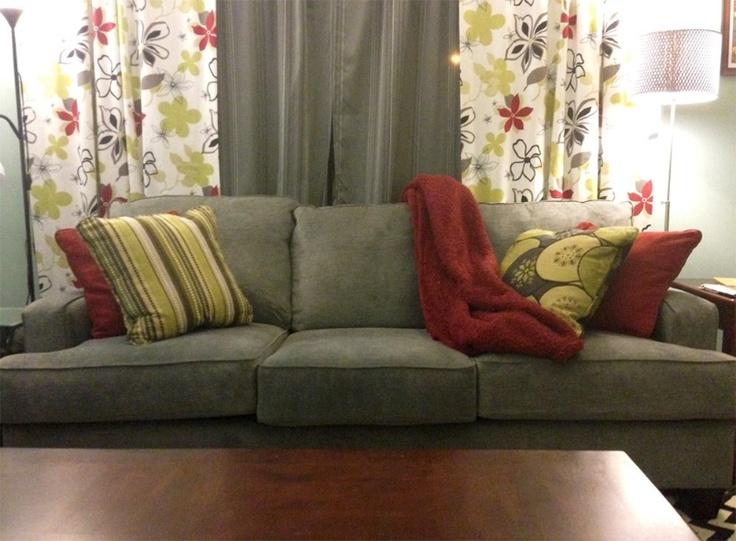 green + red + grey : Living Room || Pretty Purple Door