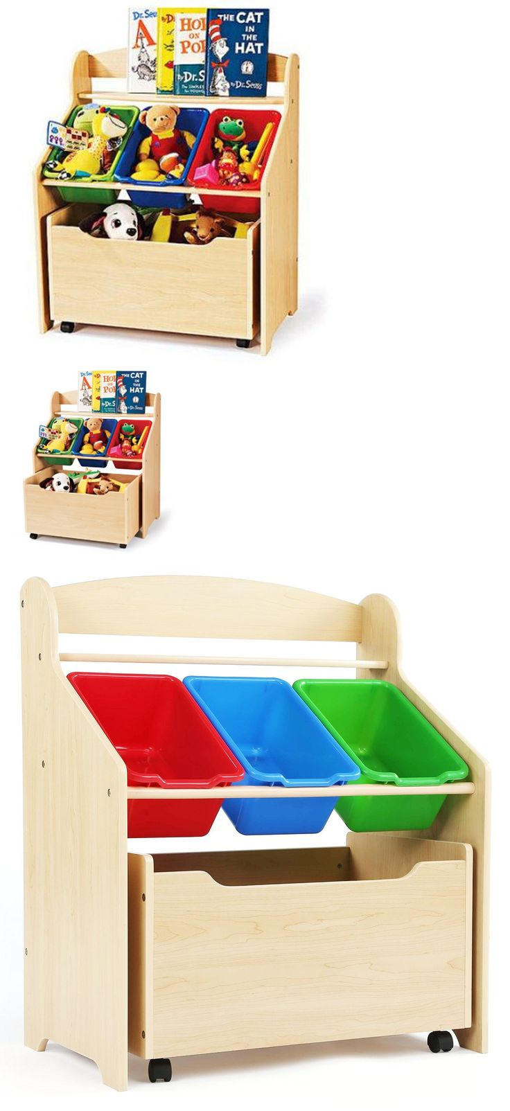 Toy Boxes 94932: Wooden Toy Organizer Kids Bedroom Storage With Bookshelf Toys Bins Wood New -> BUY IT NOW ONLY: $64.87 on eBay!
