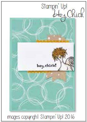 RubberFUNatics: Hey, Chick!   SU!pplies: Stamps: Hey Chick Ink: Jet Black Stazon, Crushed Curry, Sahara Sand Paper: Serene Scenery DSP, Serene Scenery Cardstock Pack Accessories: Urban Underground Washi Tape, Aqua Painters