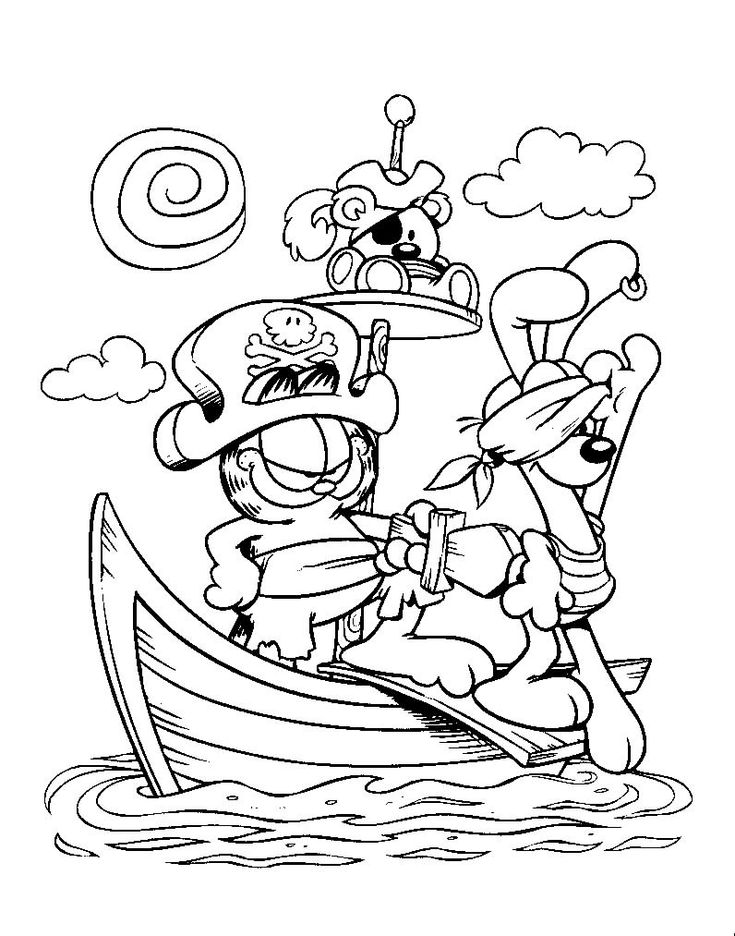 pirate garfield coloring pages halloween - Garfield Halloween Coloring Pages