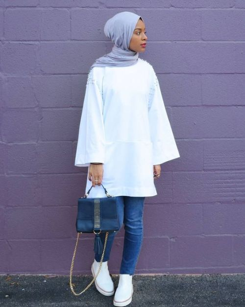 White blouse hijab-Street fashion style – Just Trendy Girls
