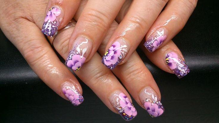 Paarse glitter met paars roze bloemen