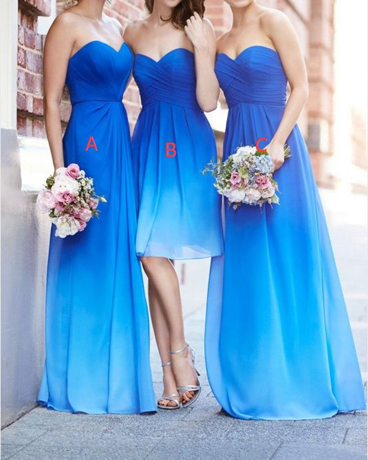 Ombre Bridesmaid Dress Different A Line Royal Blue Ombre Short Long Bridesmaid Dresses For Summer Beach Weddings