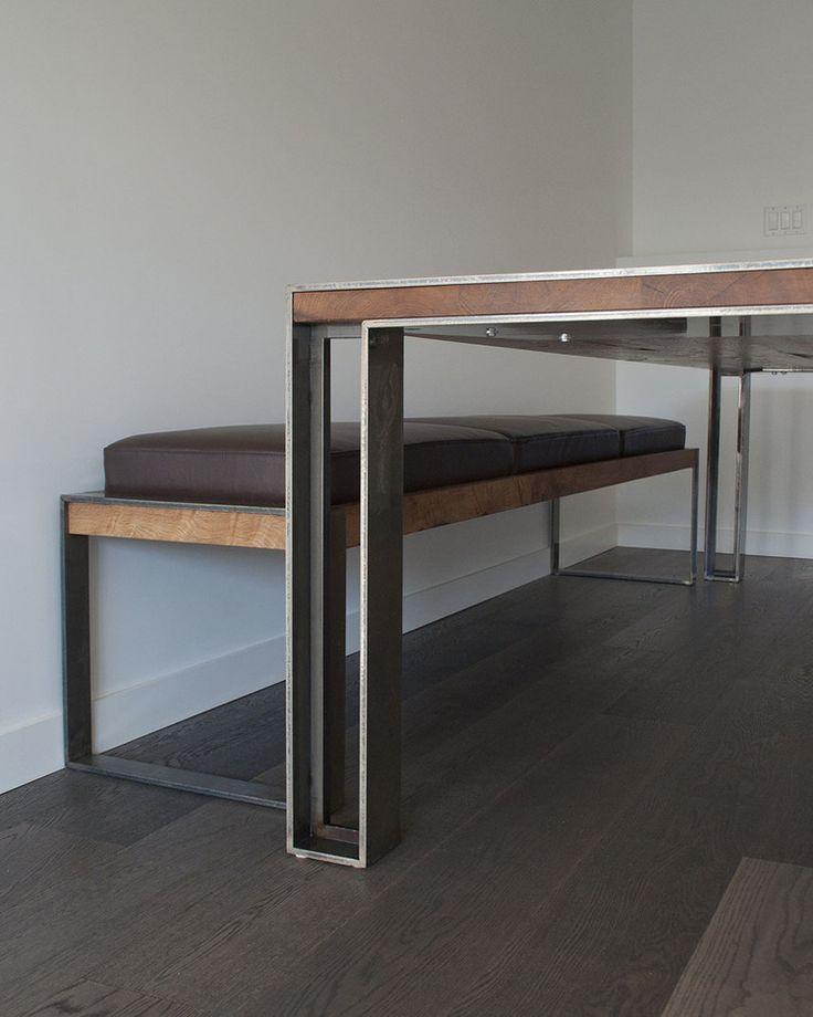 Custom table and bench in situ - white oak with powder coated steel legs.